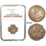 R424, Australia, George V, Sixpence (6P) 1920-M, Melbourne, Silver, NGC XF45