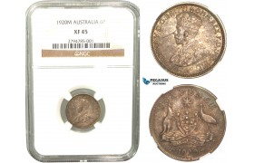 R424, Australia, George V, Sixpence (6P) 1920-M, Melbourne, Silver, NGC XF45