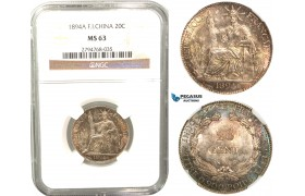 R427, French Indo-China, 20 Centimes 1894-A, Paris, Silver, NGC MS63