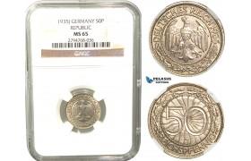 R428, Germany, Weimar, 50 Reichspfennig 1935-J, Hamburg, NGC MS65