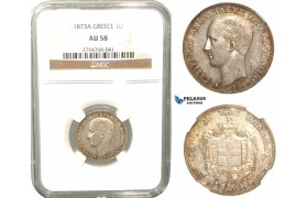 R437, Greece, George I, Drachm 1873-A, Paris, Silver, NGC AU58