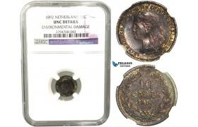 R439, Netherlands, Wilhelmina, 10 Cents 1892, Utrecht, Silver, NGC UNC