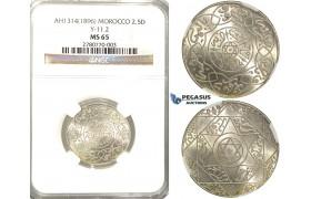 R44, Morocco, Abd al 'Aziz, 2 1/2 Dirhams AH1314, Paris, Silver, NGC MS65