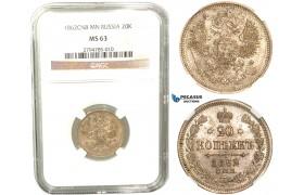 R442, Russia, Alexander II, 20 Kopeks 1862 СПБ-МИ, St. Petersburg, Silver, NGC MS63
