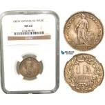 R444, Switzerland, Franc 1880-B, Bern, Silver, NGC MS62, Rare grade!