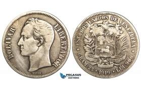 R455, Venezuela, 5 Bolivares 1919, Silver, Cleaned F-VF