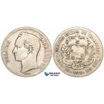 R458, Venezuela, 5 Bolivares 1879, Caracas, Silver