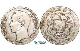 R460, Venezuela, 5 Bolivares 1887, Caracas, Silver, F