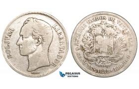 R461, Venezuela, 5 Bolivares 1889, Caracas, Silver, F