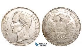 R462, Venezuela, 5 Bolivares 1900, Paris, Silver, F-VF