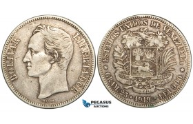 R463, Venezuela, 5 Bolivares 1919, Caracas, Silver, VF
