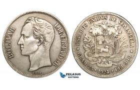 R464, Venezuela, 5 Bolivares 1924, Caracas, Silver, VF