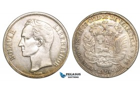 R465, Venezuela, 5 Bolivares 1926, Caracas, Silver, VF-XF (Light cleaning)