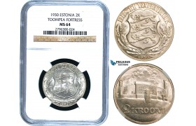R472, Estonia, 2 Kroon 1930, Silver, NGC MS64