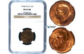 R474, Italy, Vit. Emanuele III, 10 Centesimi 1924-R, Rome, NGC MS64RB