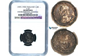 R484, Thailand, Rama V, 1/4 Baht ND (1876-1900) Silver, NGC AU