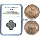 R485, Thailand, Rama V, 1/4 Baht RS121 (1902) Silver, NGC MS64