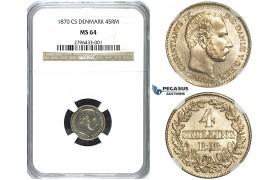 R486, Denmark, Christian IX, 4 Skilling 1870 CS, Copenhagen, Silver, NGC MS64