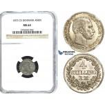 R487, Denmark, Christian IX, 4 Skilling 1873 CS, Copenhagen, Silver, NGC MS64