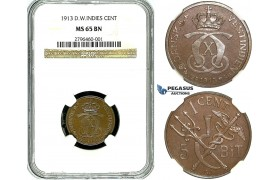 R488, Danish West Indies, Christian X, 1 Cent/5 Bit 1913, NGC MS65BN (Pop 1/1, Finest!)