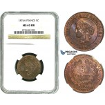 R492, France, Third Republic, 5 Centimes 1874-A, Paris, NGC MS65RB (Pop 1/1, Finest!)