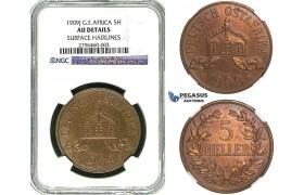 R494, German East Africa (DOA) 5 Heller 1909-J, Hamburg, NGC AU