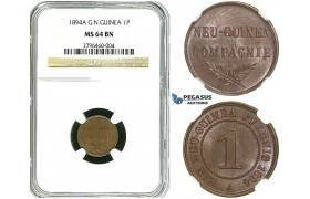 R495, German New Guinea, 1 Pfennig 1894-A, Berlin, NGC MS64