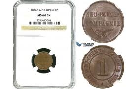 R495, German New Guinea, 1 Pfennig 1894-A, Berlin, NGC MS64