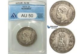 R498, Norway, Oscar II, 2 Kroner 1878, Kongsberg, Silver, ANACS AU50