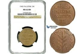 R499, Palestine, 2 Mils 1945, NGC MS62BN