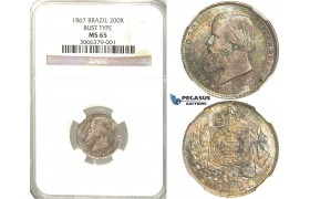 R50, Brazil, Pedro II, 200 Reis 1867, Silver, NGC MS65
