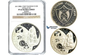 R507, United Arab Emirates, Fujairah, 10 Riyals 1969 (Apollo XII) Silver, NGC PF63 Ultra Cameo