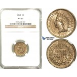 R508, United States, Indian Head Cent 1863, NGC MS63