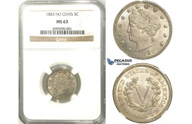 "R517, United States, Liberty Nickel (5C.) 1883 ""No Cents"" NGC MS63"