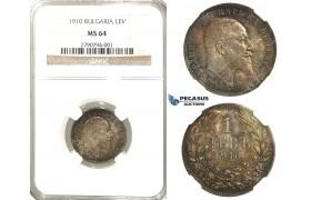 R53, Bulgaria, Ferdinand I, 1 Lev 1910, Silver, NGC MS64 (Rainbow toning)