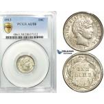 R530, United States, Barber Dime (10C.) 1913, Silver, PCGS AU58