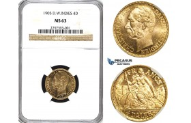 R543, Danish West Indies, Christian IX, 4 Daler/20 Francs 1905, Copenhagen, Gold, NGC MS63