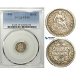 R548, United States, Liberty seated Half Dime (H10C) 1845, Silver, PCGS VF35