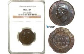 R556, Australia, George VI, Half Penny 1938, NGC MS62BN