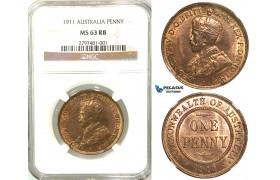 R557, Australia, Edward VII, Penny 1911, NGC MS63RB