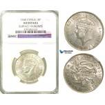 R565, Cyprus, George VI, 18 Piastres 1940, Silver, NGC AU Det.