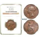 R570, Great Britain, Victoria, Half Penny 1841, NGC AU58BN