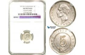 R578, Sarawak, C. Brooke Rajah, 5 Cents 1913-H, Heaton, Silver, NGC AU Det.