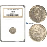 R58, Italy, V. Emanuele II, 20 Centesimi 1863 M-BN, Milan, Silver, NGC MS62