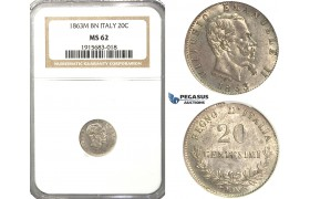 R58, Italy, V. Emanuele II, 20 Centesimi 1863 M-BN, Milan, Silver, NGC MS62
