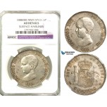 R580, Spain, Alfonso XIII, 5 Pesetas 1888 (88) MS M, Madrid, Silver, NGC AU Det. Extremely Rare!