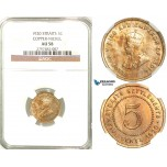R582, Straits Settlements, George V, 5 Cents 1920, Copper-Nickel, NGC AU58