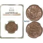 R584, United States, Large Cent 1852, Philadelphia, NGC MS63BN