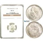 R590, Venezuela, 1/2 Bolivar 1936, Silver, NGC MS63