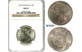R592, Venezuela, 2 Bolivares 1929, Philadelphia, Silver, NGC MS63
